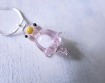 Pink Penguin Necklace Glass Lampwork Bead Animal Detailed Charm Cute Necklace Penguin Pendant