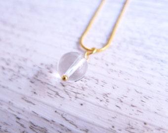 Clear Quartz Necklace Gemstone Necklace Gold Clear Quartz Sphere Dainty Delicate Necklace Clear Quartz Gemstone