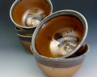 Bowls Soup Ice Cream Salad Condiments Nuts Wood Fired Stoneware - 355