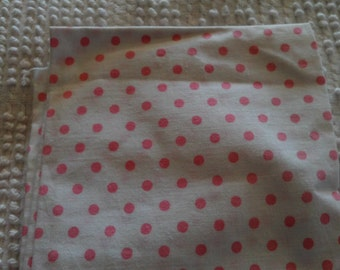 Vintage Cotton Quilt Fabric Red & Pink Dots on White