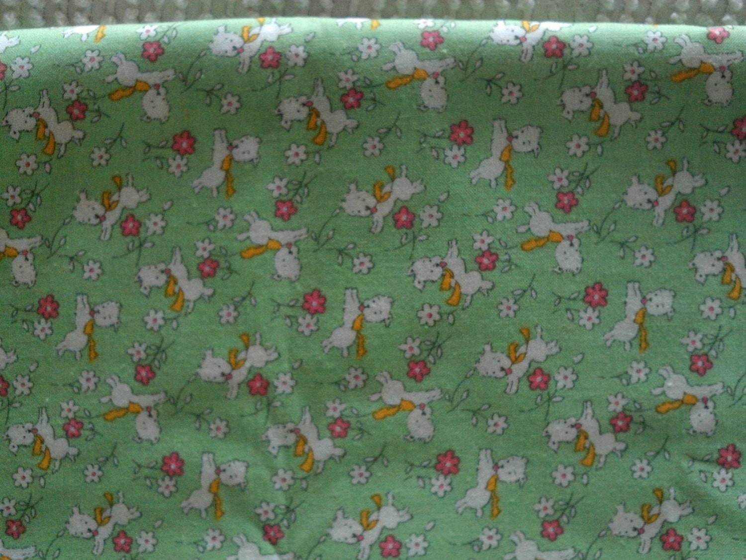 Childrens 1930s reproduction cotton fabric white lambs on for Childrens cotton fabric