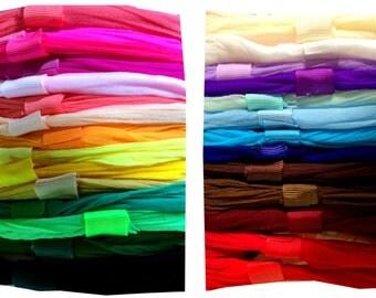 Set of FIVE - Nylon baby newborn preemie pantyhose headbands - CHOOSE Colors