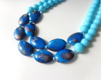 Turquoise royal blue statement necklace double strand