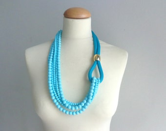 Turquoise gold necklace, multi strand necklace long