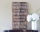 First We Had Each Other Then We Had You Now We Have Everything - With Custom Names & Dates - Wood Sign - Distressed Wooden Sign S144