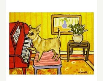ON SALE Chihuahua Playing Piano Dog Art Print