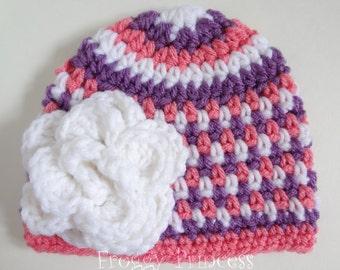 Newborn Hat Pink and Purple Crochet Girls Flower Beanie 0-3 Months
