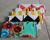 checkbook cover // oilcloth checkbook cover personal finance organization / gold chevron floral dot stripe black white