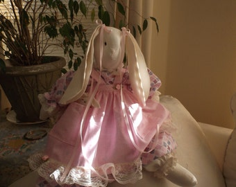 Pink Handmade Stuffed Bunny With Wee Bunny in Pocket