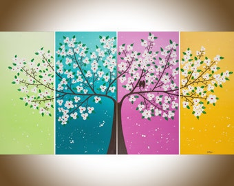 """Colorful art white flowers Art large wall art love Birds paintng on canvas Easter Home decor wall art """"love story"""" by qiqigallery"""