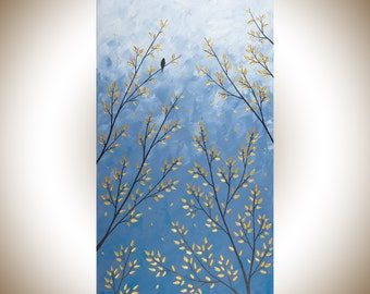 "Blue grey gold 48"" large canvas painting bird on tree branch wall decor home decor Original artwork by qiqigallery"