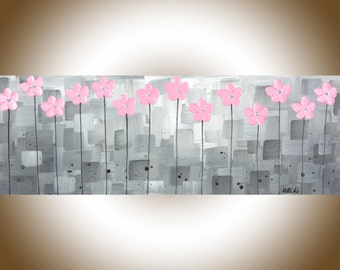 "Pink grey wall art Pink flowers acrylic painting on canvas nursery wall art nursery art ""Pretty in pink"" by qiqi"