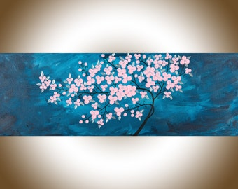 "Blue Abstract painting pink flowers painting wall art wall decor Canvas art home decor wall hangings ""Gentle Breeze"" by qiqigallery"