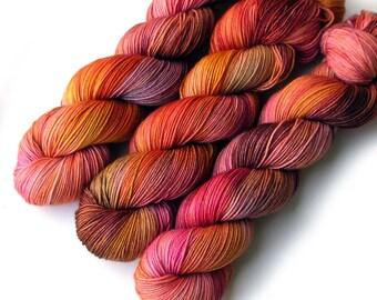 Sock Yarn Tight Twist Handdyed Yarn Merino Cashmere Nylon Fingering - Canyon Flower, 400 yards