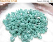 50% Off Sale 15 grams Super Duo Green Turquoise AB Czech Glass 2 Hole (New Smooth Style) 2.5x5mm Beads (6313AB) SD 080