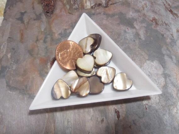 SALE 35 MOP Brown AB flat heart beads approx 12x12x3mm shell MOP1085 C16