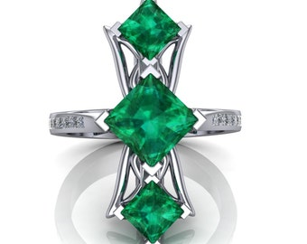 Emerald and Diamond Luxury Art Ring, Red Carpet Fashion in Platinum or Gold