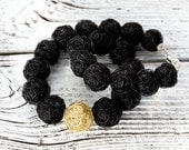 RESERVED for Pam Olson: wire beads necklace, handmade beads in black and one in gold