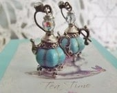 Earrings, Tea Pot Earrings, Turquoise, Pumpkin Shaped, Cinderella, Tea Lovers Gift