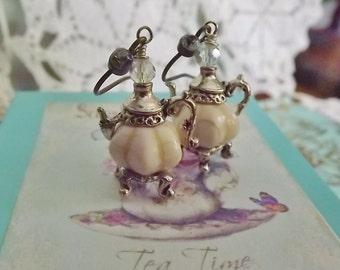 Cinderella, Cream, White, Pumpkin, Silver, Tea Pot Earrings