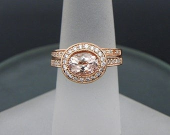 AAA Pink Morganite   7.5x5.6mm  0.97 Carats   Oval 14K Rose gold Halo bridal set with .35cts of diamonds. 782