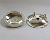 Button converter, silver plated brass, 25mm domed round with 2 loops  (6)