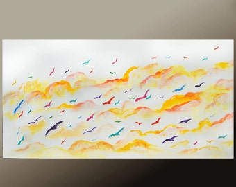 Abstract Canvas Art Bird Painting 36x18 Original Contemporary Cloudscape Wall Art by Destiny Womack - dWo - Fly Free