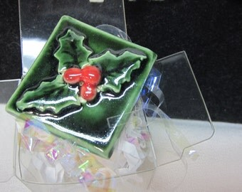 HOLIDAY Holly Brooch Gift Boxed Stoneware