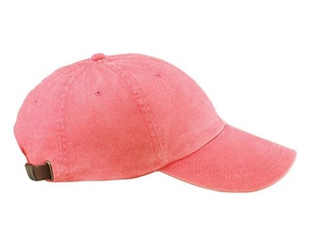 CORAL HAT - One Women or Men Adams Baseball Cap - 24 Color Hats Available - Price Apparel Embroidery