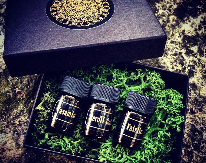 Botanical Perfume Oils ~ SAMPLE SET OF 3 ~ Yasamin / Neroli Gold / Fairlie ~ Luxurious Aromatherapy by Morning Glory Teahouse