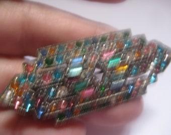 1930s Multi-Colored Rhinestone Bar Pin in Pot Metal