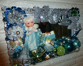 On hold for Kasey Gorgeous Repurposed Vintage Christmas Blue Green Head Angels Mirror Tray OOAK