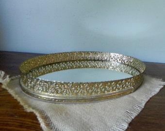 Vintage mirror tray romantic gold brass filigree edges