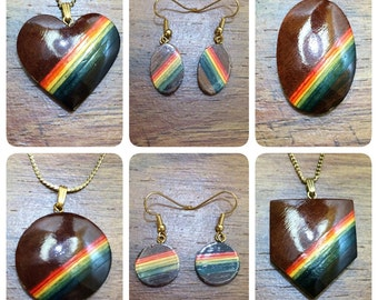 Brand New Vintage Carved Wood Rainbow Jewelry - Necklaces and Earrings Available