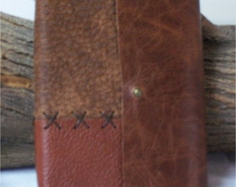 Brown Leather Hand Stitched Travel Journal, Field Notes, Passport Cover 6X4.25