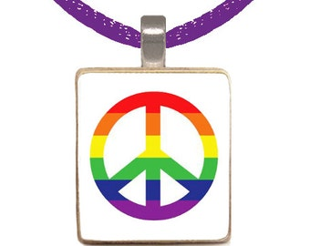Scrabble Pendant, Scrabble Necklace, Rainbow Peace Sign, Tween Necklace, Gift For Her, Gift Under 10 (RAINBOW PEACE SIGN)