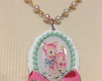 Pink Fawn Cameo And Bow Beaded Necklace