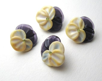 Purple Yellow Pansy, Glass Button Flower Beads, handmade jewelry supplies by Serena Smith Lampwork