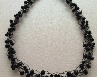 Hand Made Crochet Necklace with Black Crystals