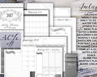 2017 Daily Planner BUNDLE | Yearly Calendar | Printable Weekly Planner Bundle | Blank Notes & Lists | Weekly Goals | Daily To Do List