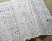 Eyelet Lace Embroidery Table Runner Vintage Linens Cottage Shabby Chic