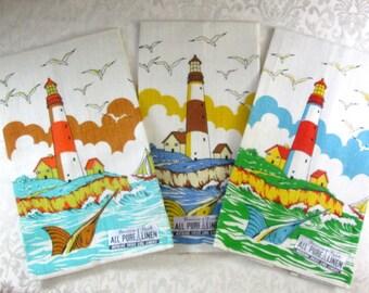 Vintage MWT Tea Kitchen Towels Lighthouse Beach Ocean Decor Seaside Cottage Vintage Linens