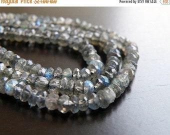Mega SALE Labradorite Gemstone Rondelle Grey Blue Flash Faceted Beads 4mm Full Strand 120 beads