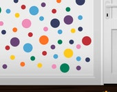 Set of 120 Rainbow Circles Vinyl Wall Graphic Decals Stickers shape polka dots round red yellow ice blue green pink purple orange navy color