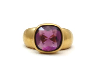 Swarovski Jewelry - Amethyst Purple Ring, Vermeil, Sterling Silver Rings for Women, Statement Ring, Costume Jewelry
