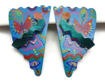 1980s Earrings - Memphis Group, Retro Contemporary, Hand Painted, Pierced