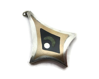 Mid Century Modern Pendant - Popowski, Mexican, Sterling Silver, Mixed Metals, Inlaid Onyx