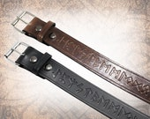 Norse Runes Belt - Wide belt, Leather Belt, Norse Leather Belt, Mens Leather Belt, Women's Leather Belt, Genuine Leather Belt  (1 Belt Only)