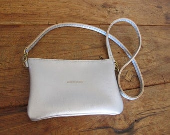 Hand Stitched Simple Leather Crossbody Bag - Silver -