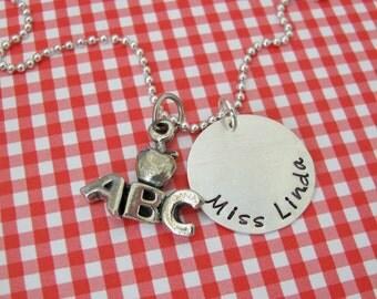personalized ABC teacher necklace